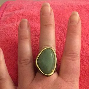 Mixed Metal Green Stone Ring Size 7